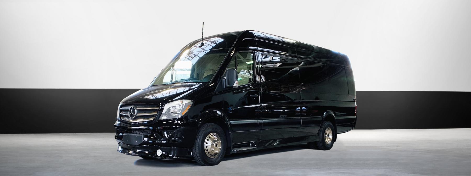 Mercedes Sprinter luxury car rental in black