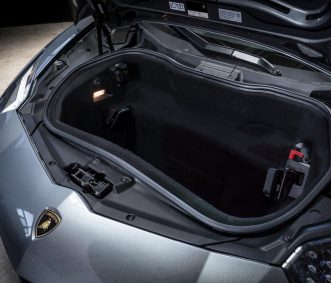 Grey Aventador Roadster Car Rental Trunk