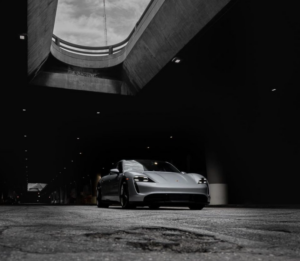 porsche electric car rental taycan turbo in silver